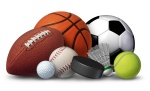 football basketball baseball soccer tennis and golf ball badminton hockey puck